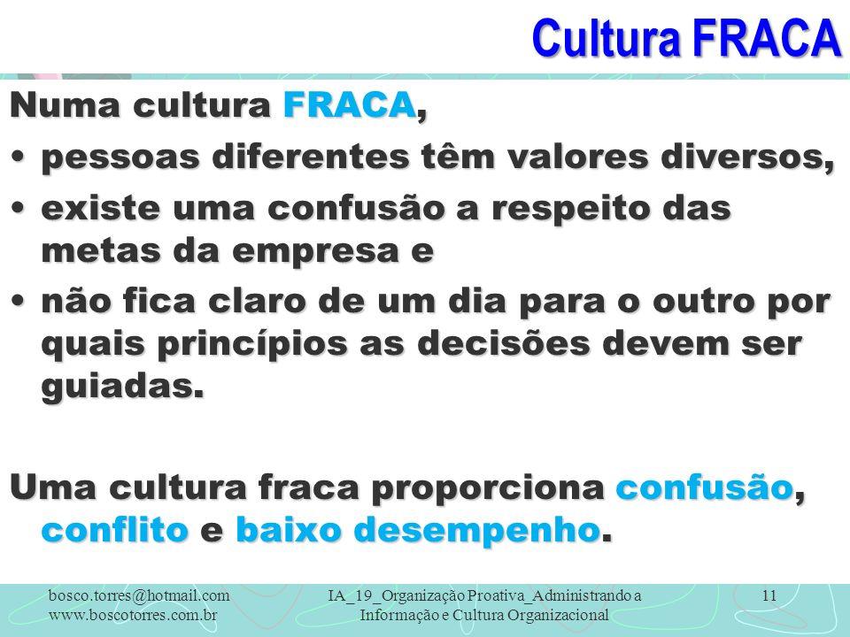 Cultura FRACA Numa cultura FRACA, pessoas diferentes têm valores diversos,pessoas diferentes têm valores diversos, existe uma confusão a respeito das