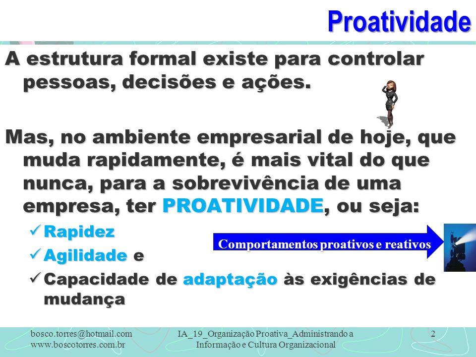Proatividade A estrutura formal existe para controlar pessoas, decisões e ações. Mas, no ambiente empresarial de hoje, que muda rapidamente, é mais vi