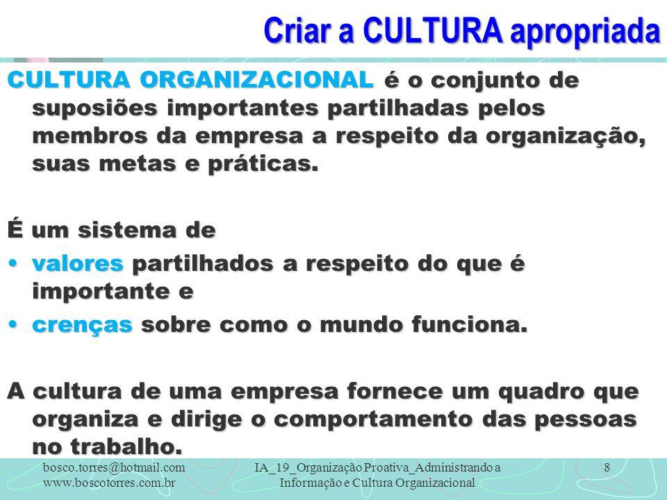 Criar a CULTURA apropriada CULTURA ORGANIZACIONAL é o conjunto de suposiões importantes partilhadas pelos membros da empresa a respeito da organização