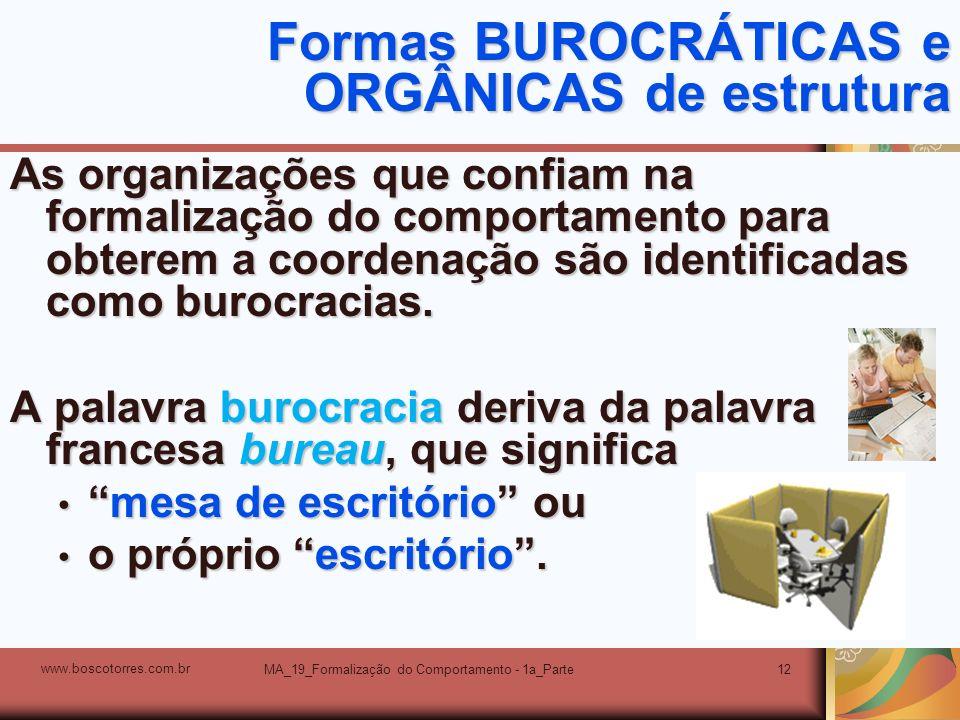 MA_19_Formalização do Comportamento - 1a_Parte12 Formas BUROCRÁTICAS e ORGÂNICAS de estrutura As organizações que confiam na formalização do comportam