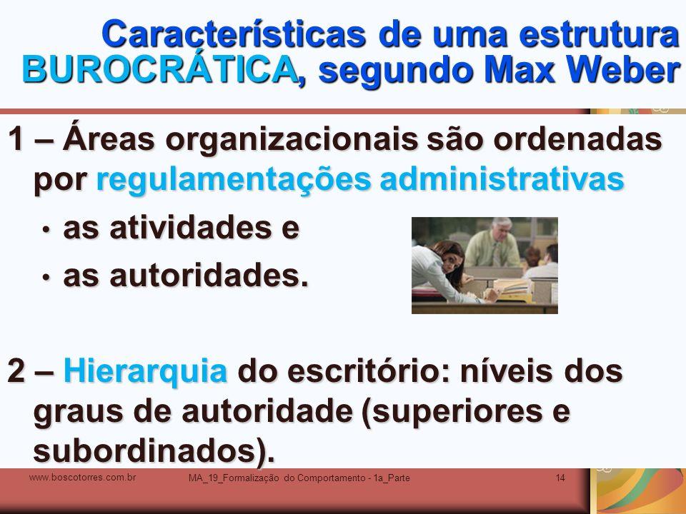 MA_19_Formalização do Comportamento - 1a_Parte14 Características de uma estrutura BUROCRÁTICA, segundo Max Weber 1 – Áreas organizacionais são ordenad