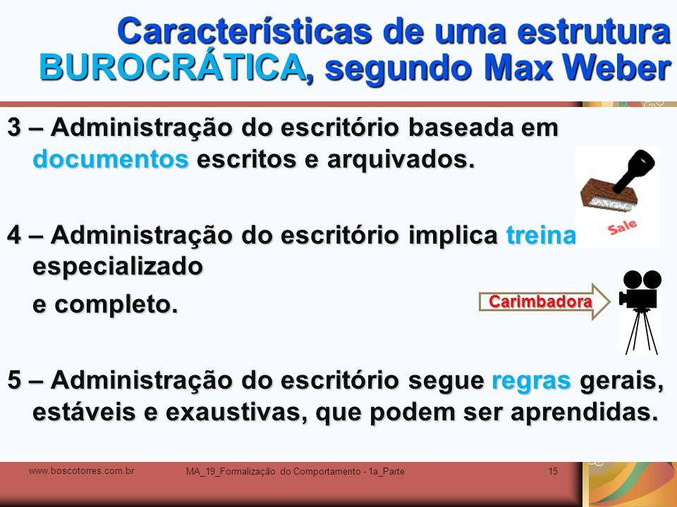 MA_19_Formalização do Comportamento - 1a_Parte15 Características de uma estrutura BUROCRÁTICA, segundo Max Weber 3 – Administração do escritório basea