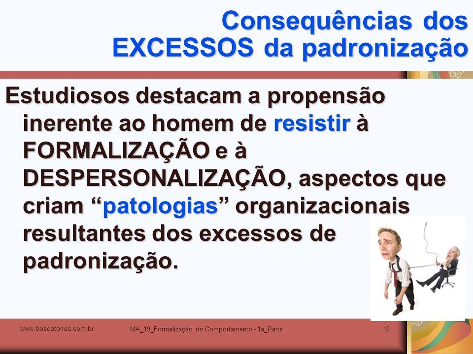 MA_19_Formalização do Comportamento - 1a_Parte19 Consequências dos EXCESSOS da padronização Estudiosos destacam a propensão inerente ao homem de resis