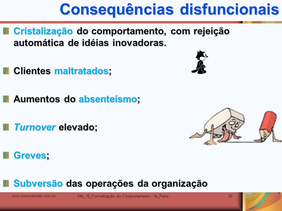 MA_19_Formalização do Comportamento - 1a_Parte20 Consequências disfuncionais Cristalização do comportamento, com rejeição automática de idéias inovado