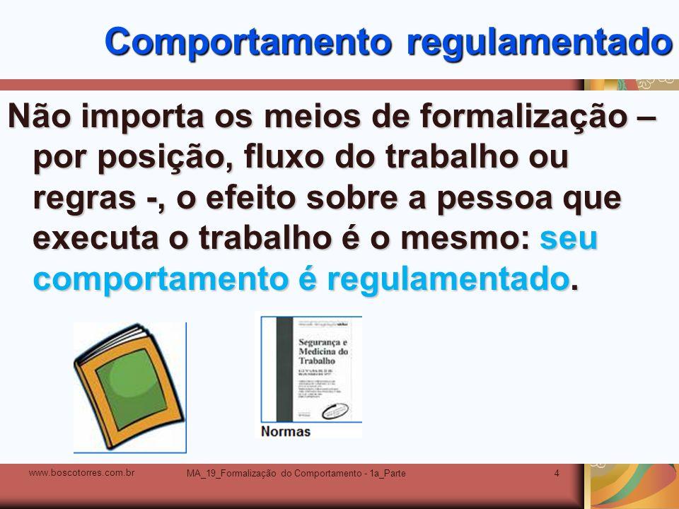 MA_19_Formalização do Comportamento - 1a_Parte4 Comportamento regulamentado Não importa os meios de formalização – por posição, fluxo do trabalho ou r