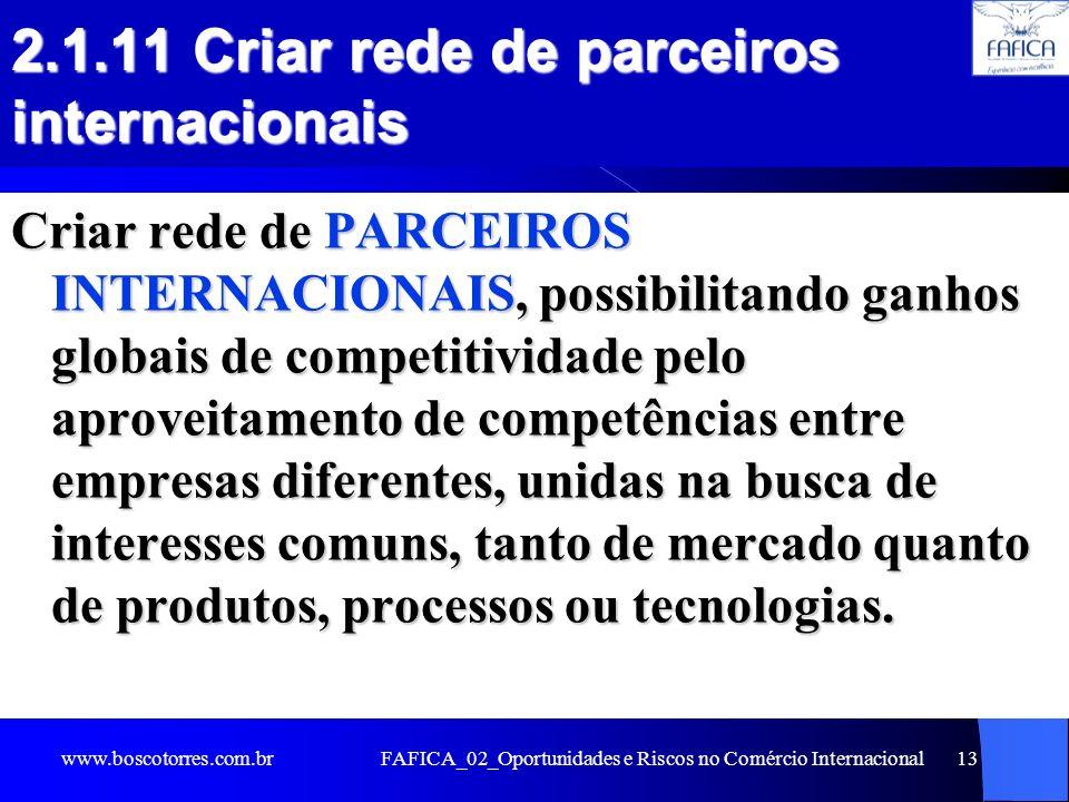 FAFICA_02_Oportunidades e Riscos no Comércio Internacional13 2.1.11 Criar rede de parceiros internacionais Criar rede de PARCEIROS INTERNACIONAIS, pos