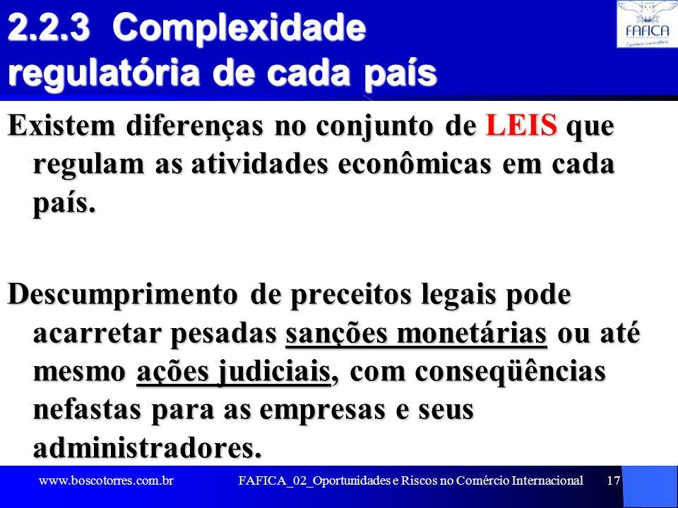 FAFICA_02_Oportunidades e Riscos no Comércio Internacional17 2.2.3 Complexidade regulatória de cada país Existem diferenças no conjunto de LEIS que re