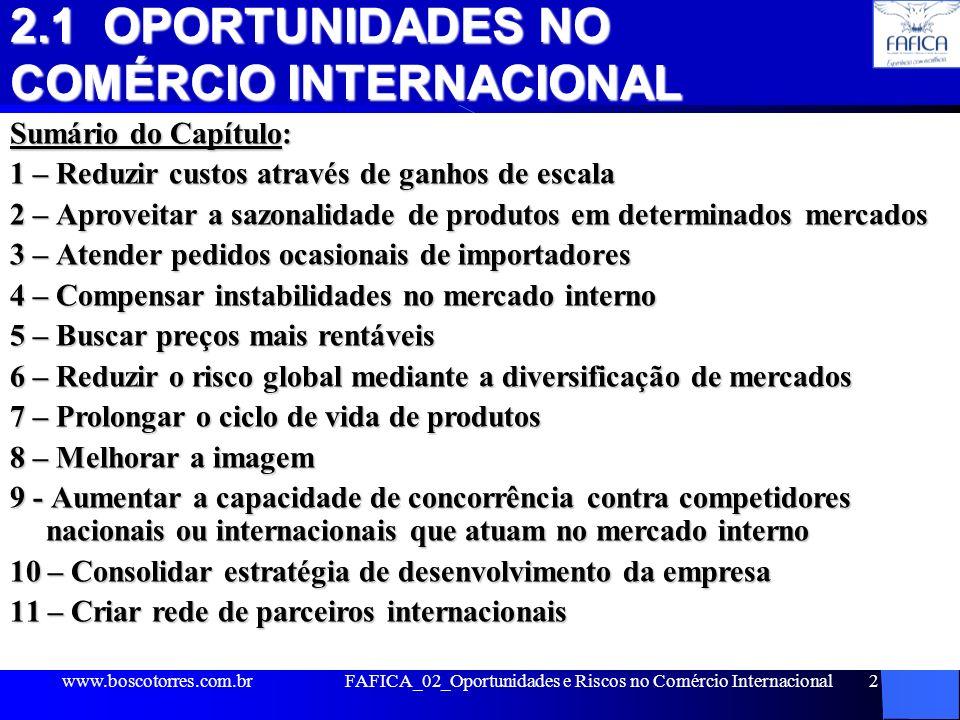 FAFICA_02_Oportunidades e Riscos no Comércio Internacional2 2.1 OPORTUNIDADES NO COMÉRCIO INTERNACIONAL Sumário do Capítulo: 1 – Reduzir custos atravé
