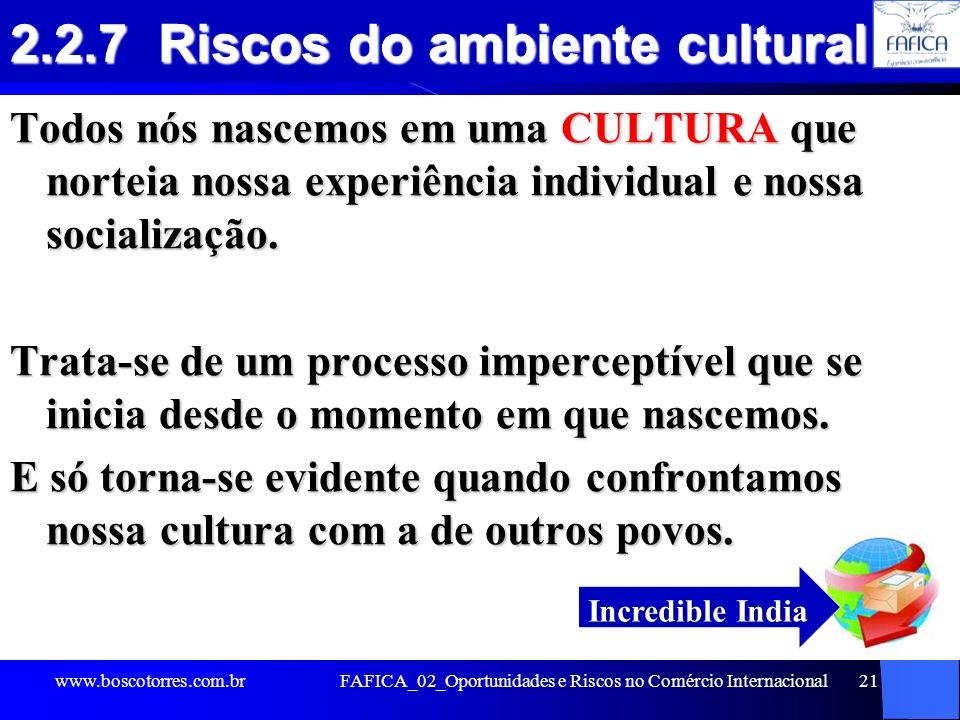 FAFICA_02_Oportunidades e Riscos no Comércio Internacional21 2.2.7 Riscos do ambiente cultural Todos nós nascemos em uma CULTURA que norteia nossa exp