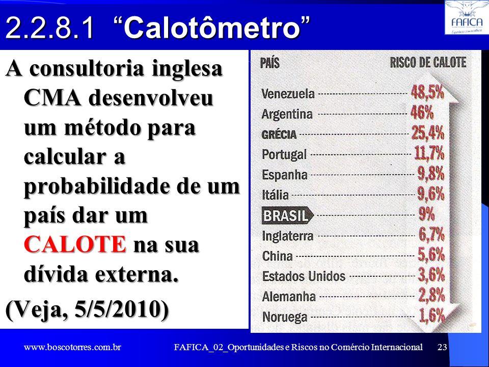 2.2.8.1 Calotômetro A consultoria inglesa CMA desenvolveu um método para calcular a probabilidade de um país dar um CALOTE na sua dívida externa. (Vej
