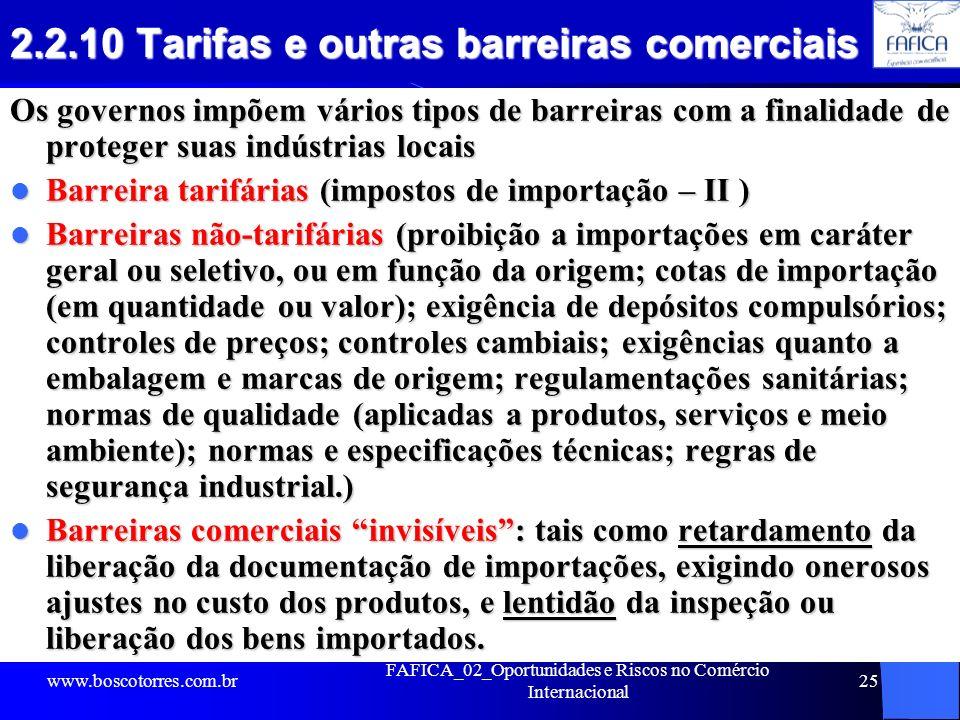 FAFICA_02_Oportunidades e Riscos no Comércio Internacional 25 2.2.10 Tarifas e outras barreiras comerciais Os governos impõem vários tipos de barreira