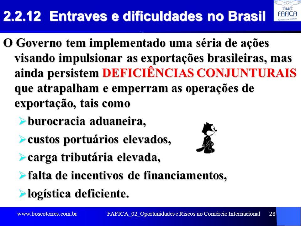 FAFICA_02_Oportunidades e Riscos no Comércio Internacional28 2.2.12 Entraves e dificuldades no Brasil O Governo tem implementado uma séria de ações vi