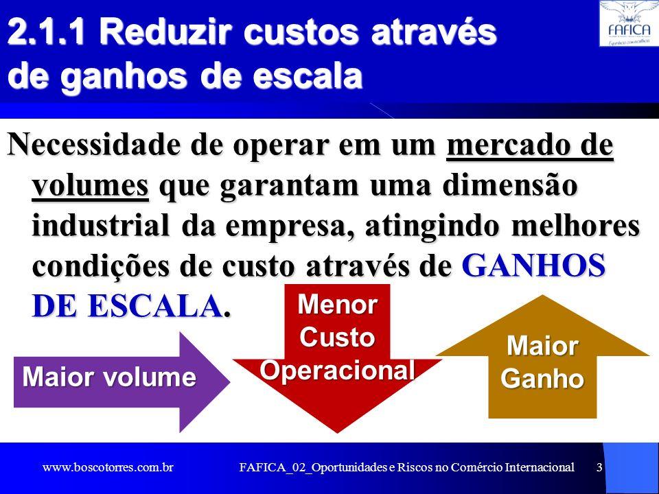 FAFICA_02_Oportunidades e Riscos no Comércio Internacional3 2.1.1 Reduzir custos através de ganhos de escala Necessidade de operar em um mercado de vo