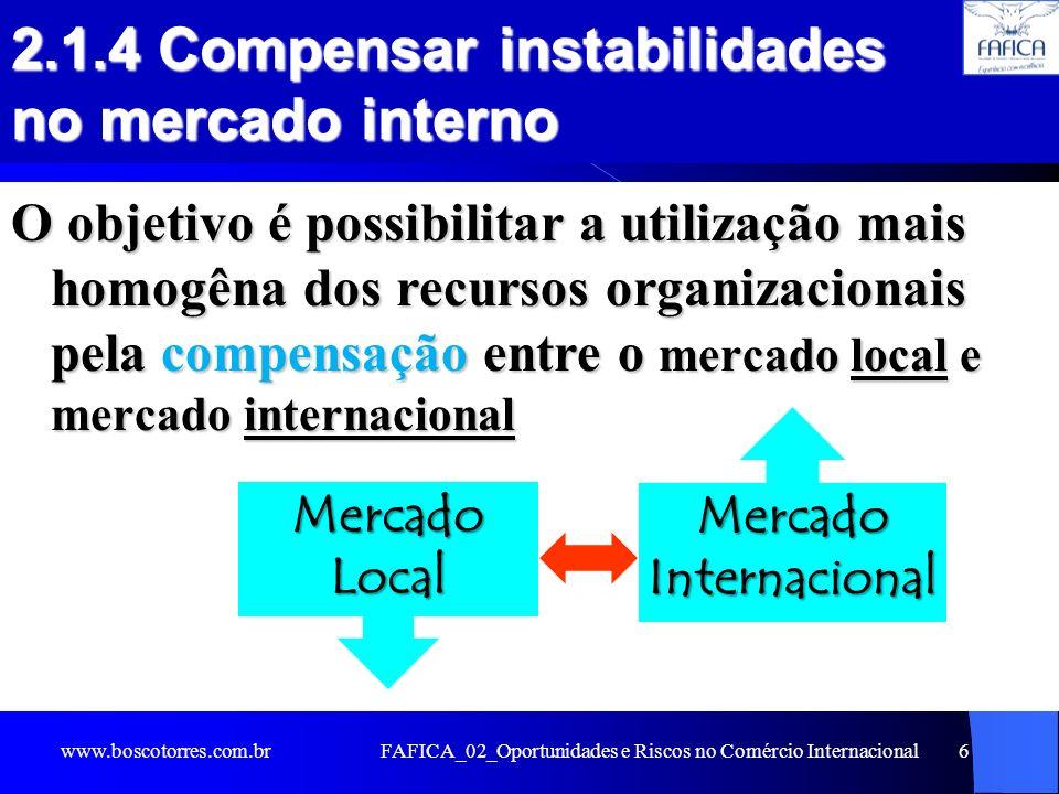 FAFICA_02_Oportunidades e Riscos no Comércio Internacional6 2.1.4 Compensar instabilidades no mercado interno O objetivo é possibilitar a utilização m