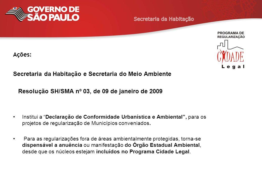 Ações: Secretaria da Habitação e Secretaria do Meio Ambiente Resolução SH/SMA nº 03, de 09 de janeiro de 2009 Institui a Declaração de Conformidade Ur