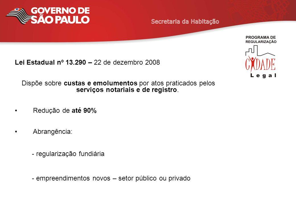 Lei Estadual nº 13.290 – 22 de dezembro 2008 Dispõe sobre custas e emolumentos por atos praticados pelos serviços notariais e de registro. Redução de