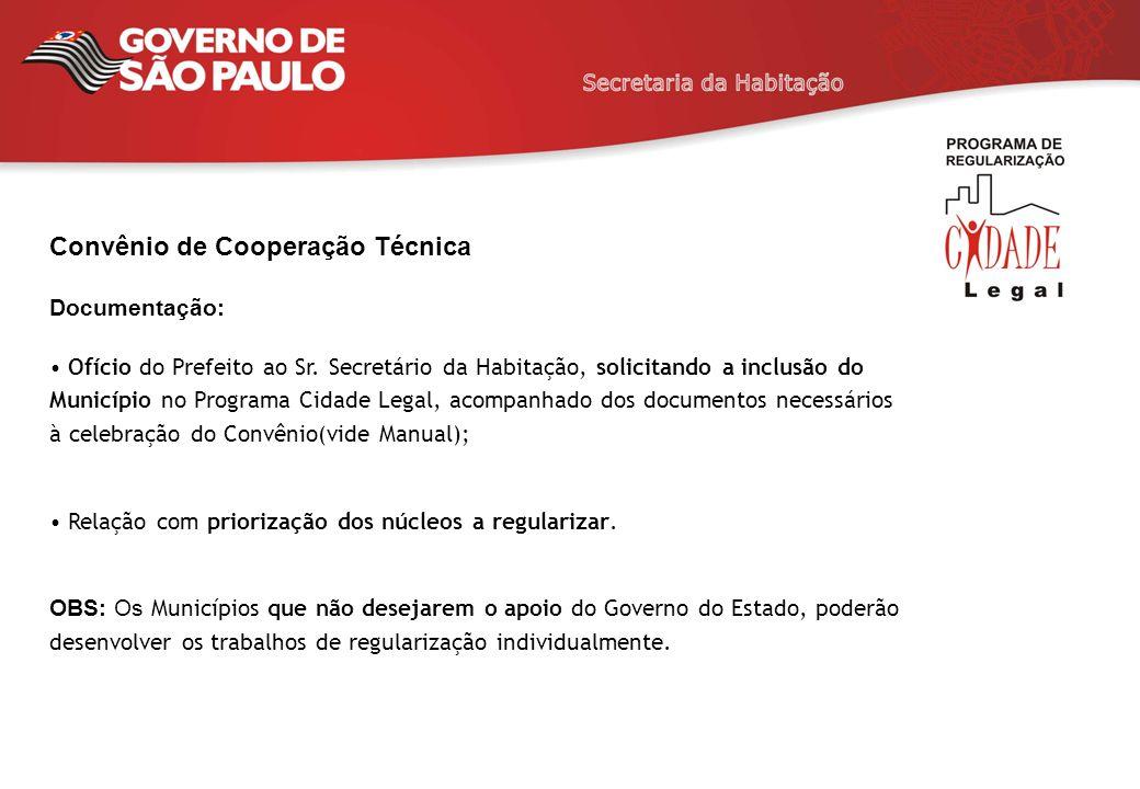 Convênio de Cooperação Técnica Documentação: Ofício do Prefeito ao Sr. Secretário da Habitação, solicitando a inclusão do Município no Programa Cidade