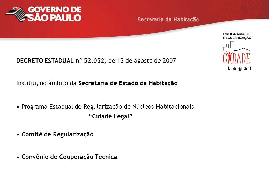 DECRETO ESTADUAL nº 52.052, de 13 de agosto de 2007 Institui, no âmbito da Secretaria de Estado da Habitação Programa Estadual de Regularização de Núc
