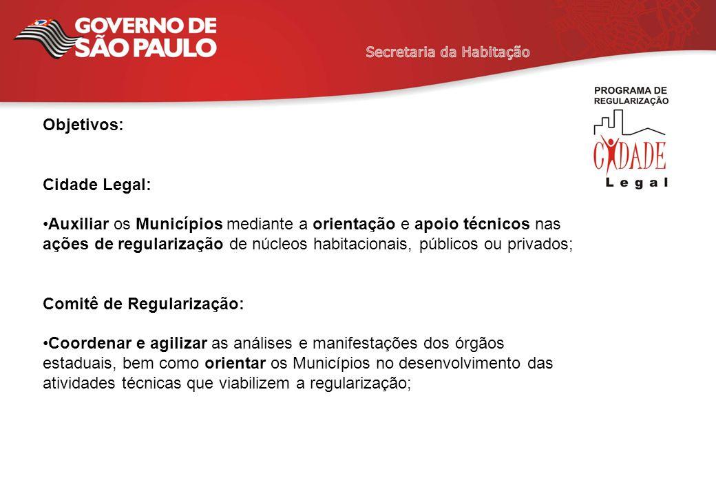 Objetivos: Cidade Legal: Auxiliar os Municípios mediante a orientação e apoio técnicos nas ações de regularização de núcleos habitacionais, públicos o