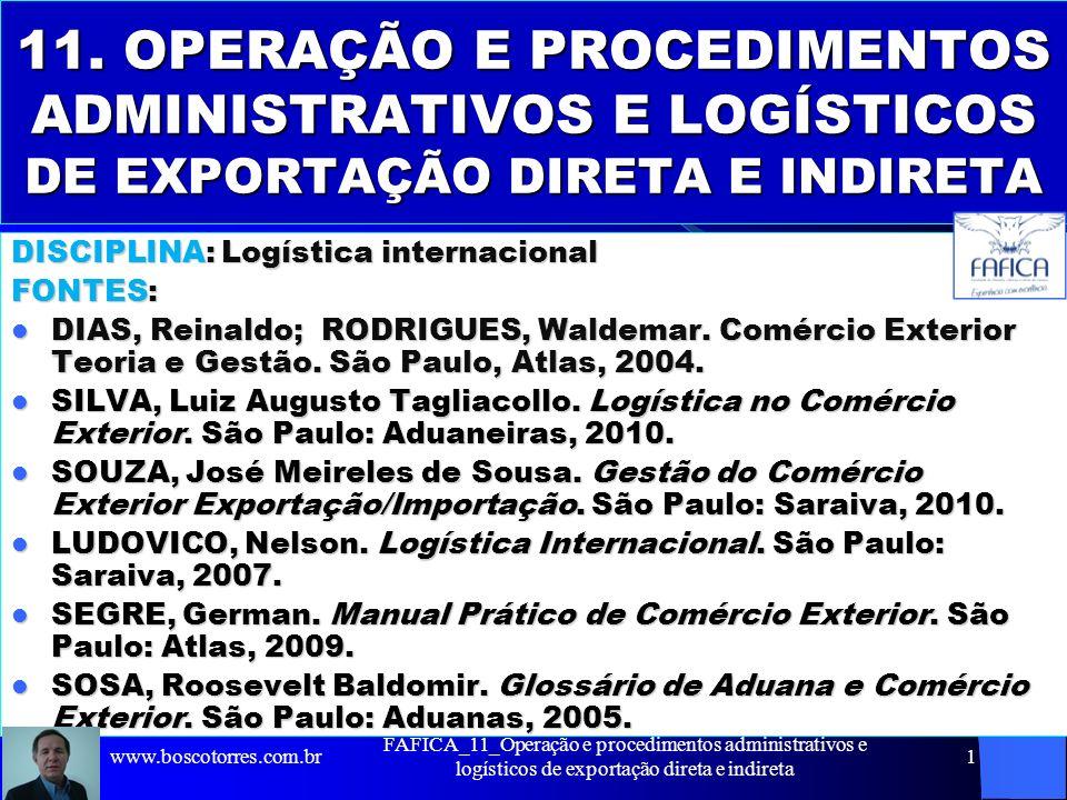 FAFICA_11_Operação e procedimentos administrativos e logísticos de exportação direta e indireta 1 11. OPERAÇÃO E PROCEDIMENTOS ADMINISTRATIVOS E LOGÍS