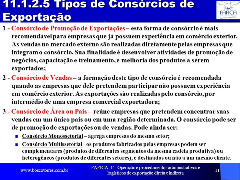 11.1.2.5 Tipos de Consórcios de Exportação 1 - Consórcio de Promoção de Exportações – esta forma de consórcio é mais recomendável para empresas que já