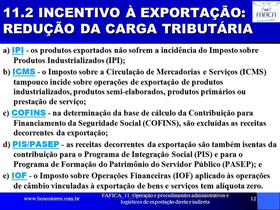 11.2 INCENTIVO À EXPORTAÇÃO: REDUÇÃO DA CARGA TRIBUTÁRIA a) IPI - os produtos exportados não sofrem a incidência do Imposto sobre Produtos Industriali