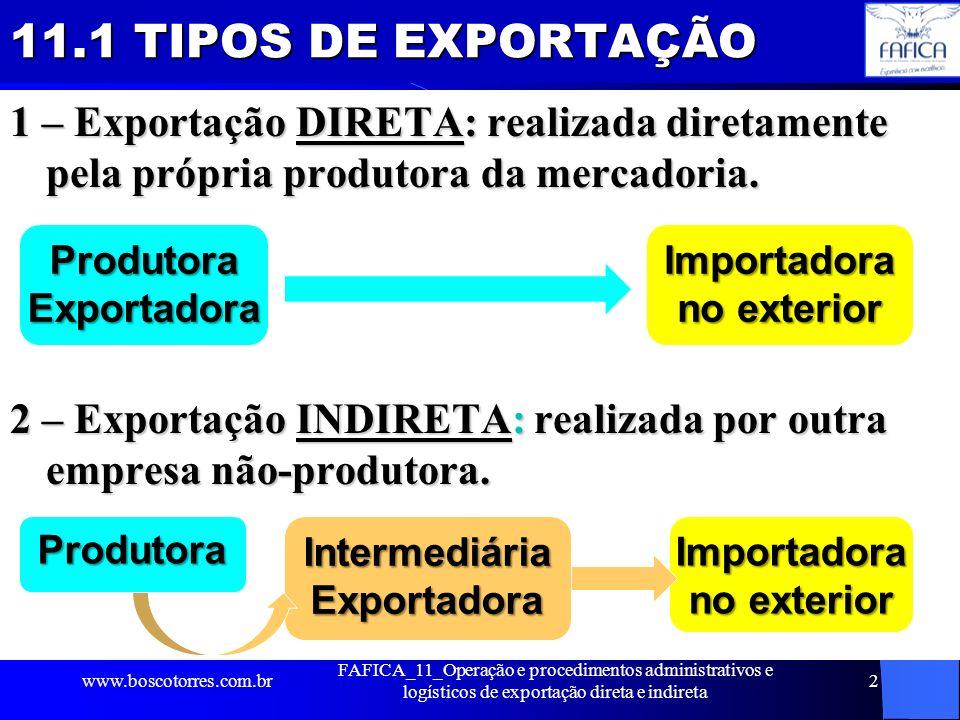 11.1 TIPOS DE EXPORTAÇÃO 1 – Exportação DIRETA: realizada diretamente pela própria produtora da mercadoria. 2 – Exportação INDIRETA: realizada por out