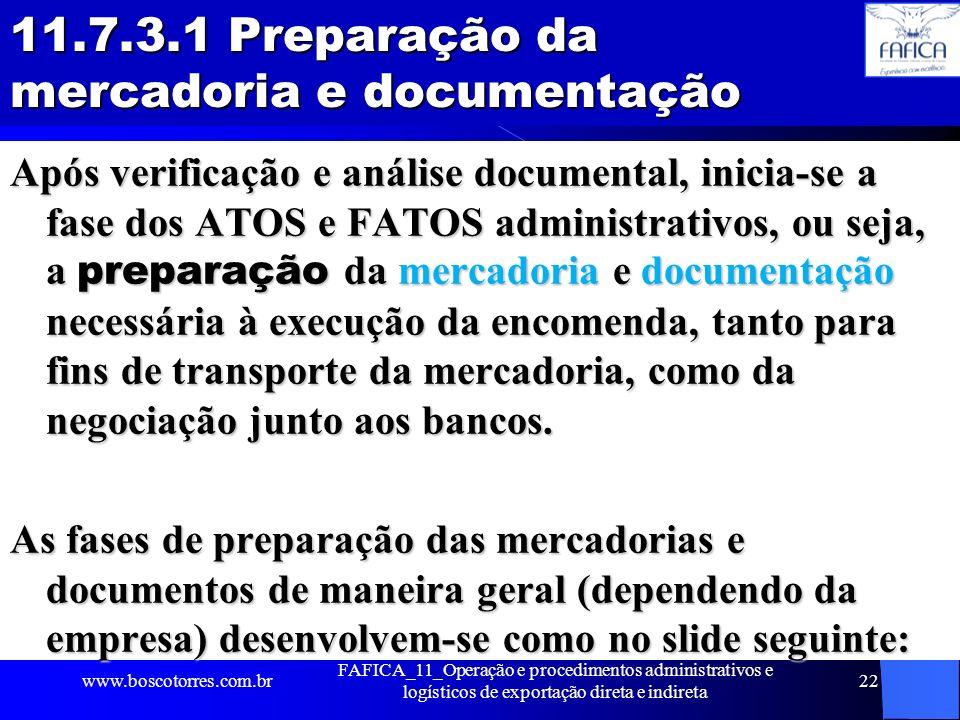 11.7.3.1 Preparação da mercadoria e documentação Após verificação e análise documental, inicia-se a fase dos ATOS e FATOS administrativos, ou seja, a