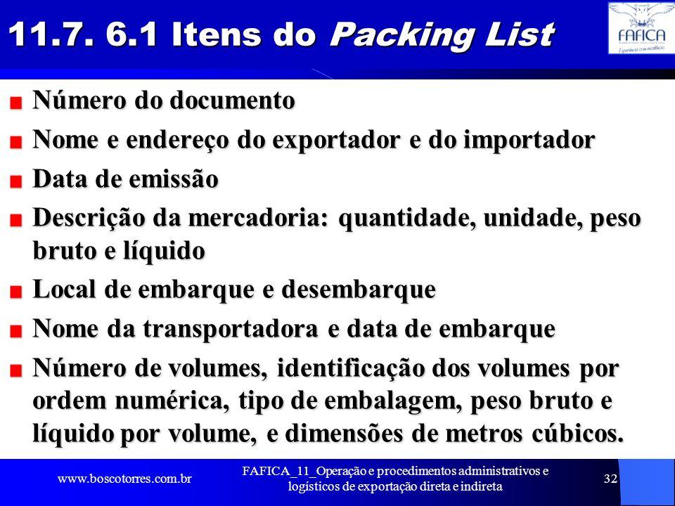 11.7. 6.1 Itens do Packing List Número do documento Nome e endereço do exportador e do importador Data de emissão Descrição da mercadoria: quantidade,