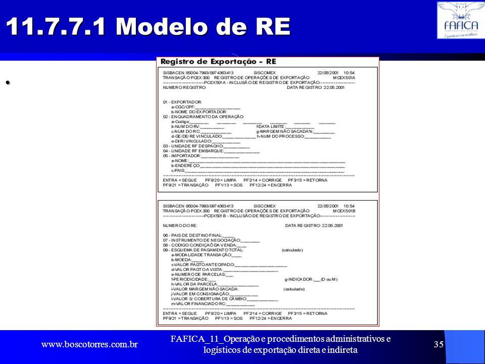 11.7.7.1 Modelo de RE. www.boscotorres.com.br FAFICA_11_Operação e procedimentos administrativos e logísticos de exportação direta e indireta 35