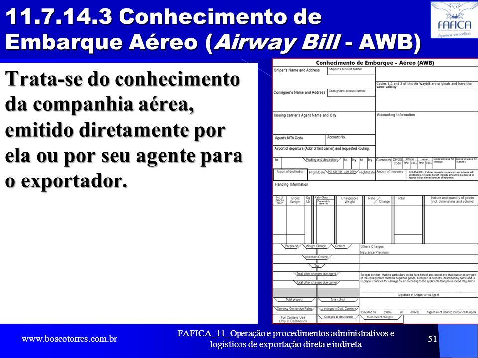 11.7.14.3 Conhecimento de Embarque Aéreo (Airway Bill - AWB) Trata-se do conhecimento da companhia aérea, emitido diretamente por ela ou por seu agent
