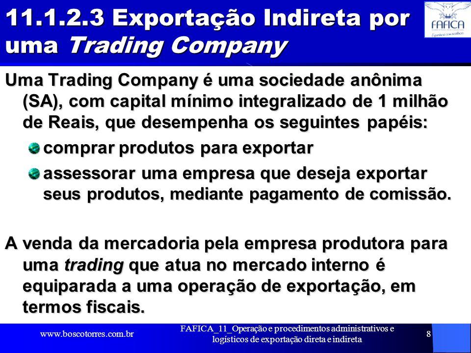 11.1.2.3 Exportação Indireta por uma Trading Company Uma Trading Company é uma sociedade anônima (SA), com capital mínimo integralizado de 1 milhão de