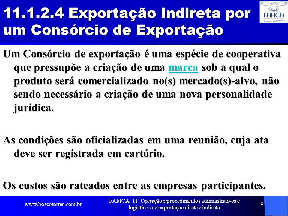 11.1.2.4 Exportação Indireta por um Consórcio de Exportação Um Consórcio de exportação é uma espécie de cooperativa que pressupõe a criação de uma mar