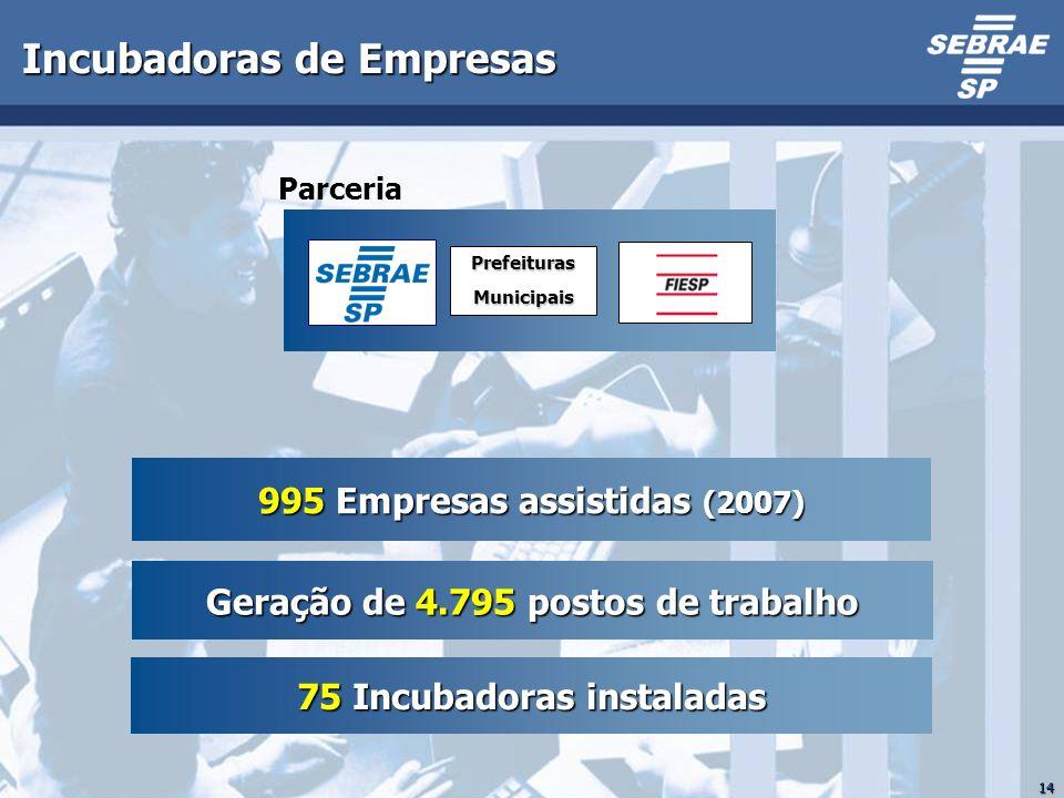 14 Incubadoras de Empresas 995 Empresas assistidas (2007) Geração de 4.795 postos de trabalho 75 Incubadoras instaladas ParceriaPrefeiturasMunicipais