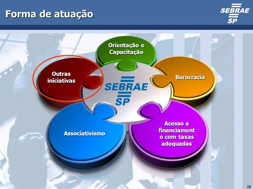 18 Forma de atuação Burocracia Acesso a financiament o com taxas adequadas Outras iniciativas Associativismo Orientação e Capacitação