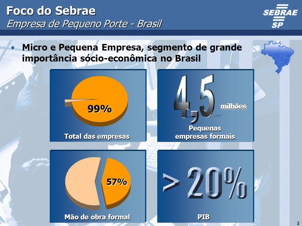 2 Foco do Sebrae Empresa de Pequeno Porte - Brasil Micro e Pequena Empresa, segmento de grande importância sócio-econômica no Brasil PIB PIB Mão de ob