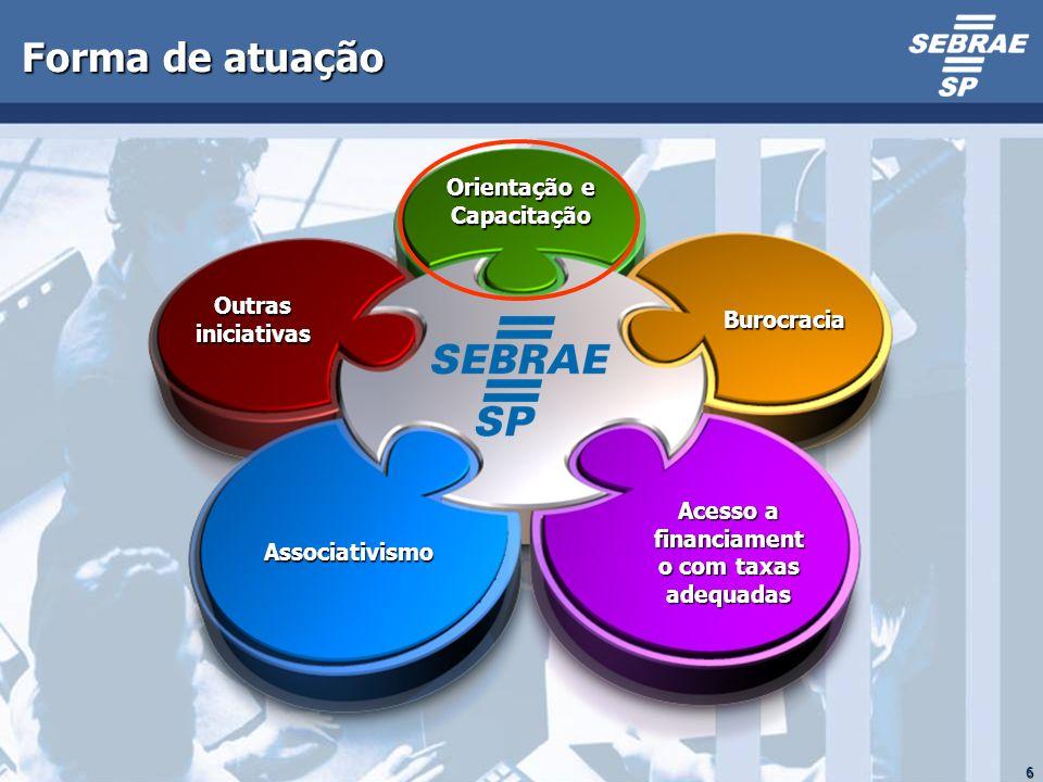 6 Forma de atuação Orientação e Capacitação Burocracia Acesso a financiament o com taxas adequadas Outras iniciativas Associativismo