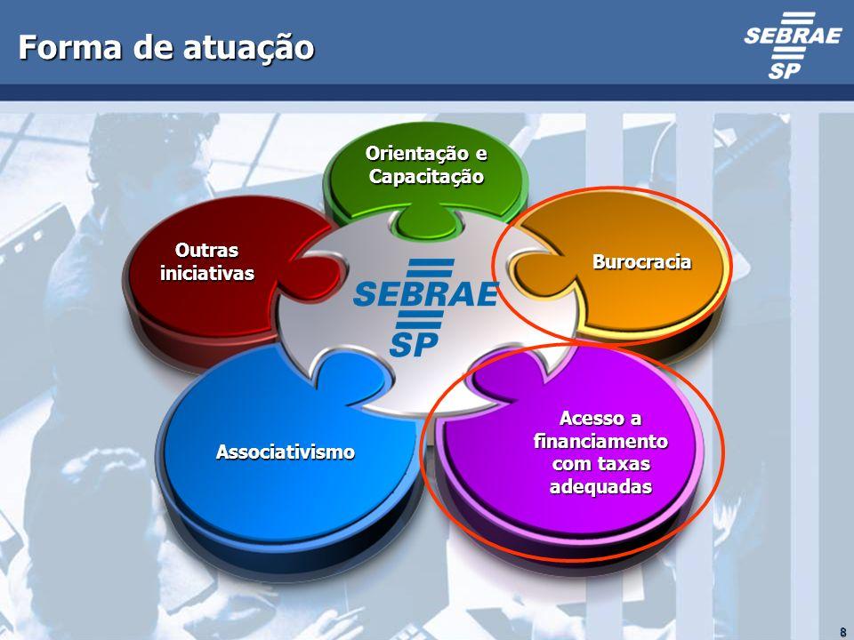 8 Forma de atuação Burocracia Acesso a financiamento com taxas adequadas Outras iniciativas Associativismo Orientação e Capacitação