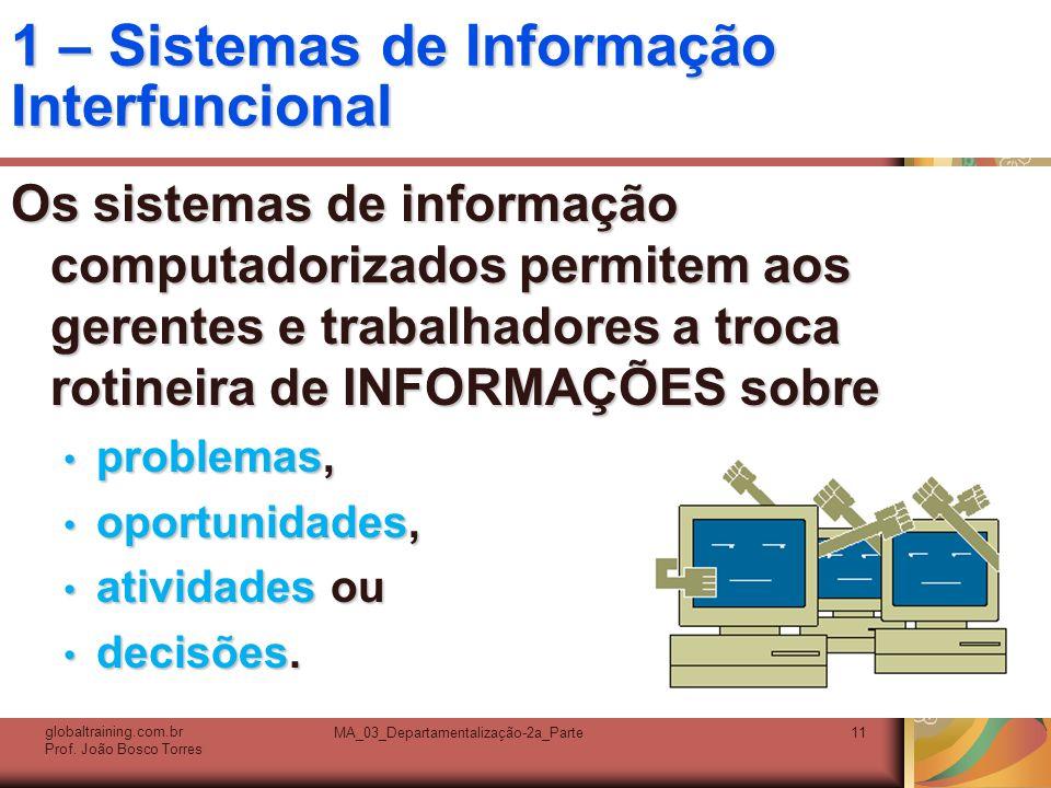 MA_03_Departamentalização-2a_Parte11 1 – Sistemas de Informação Interfuncional Os sistemas de informação computadorizados permitem aos gerentes e trab