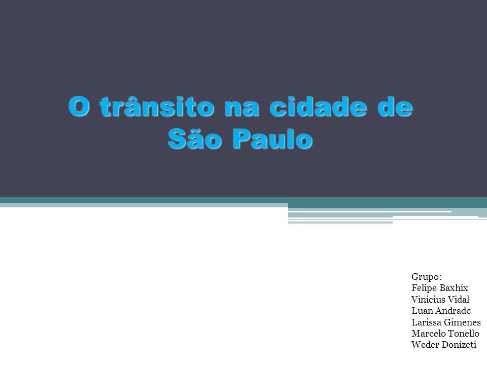 O trânsito na cidade de São Paulo Grupo: Felipe Baxhix Vinicius Vidal Luan Andrade Larissa Gimenes Marcelo Tonello Weder Donizeti