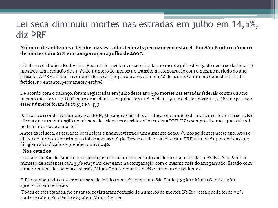 Lei seca diminuiu mortes nas estradas em julho em 14,5%, diz PRF Número de acidentes e feridos nas estradas federais permaneceu estável. Em São Paulo