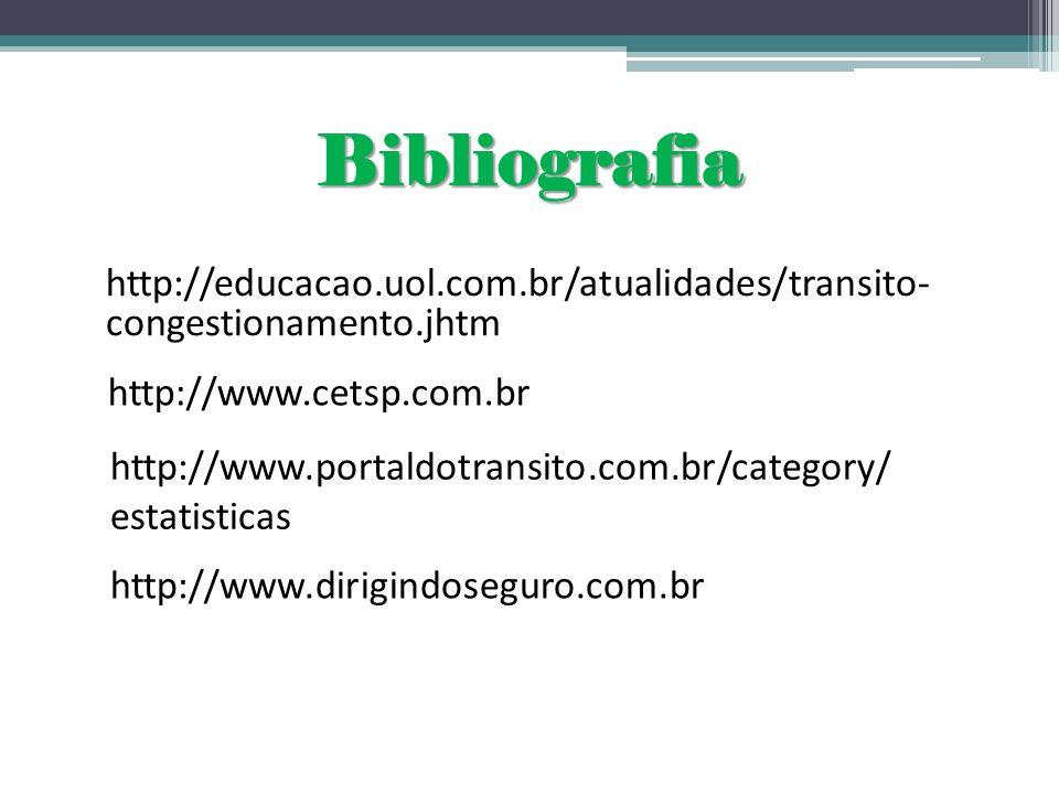 Bibliografia http://educacao.uol.com.br/atualidades/transito- congestionamento.jhtm http://www.cetsp.com.br http://www.portaldotransito.com.br/categor