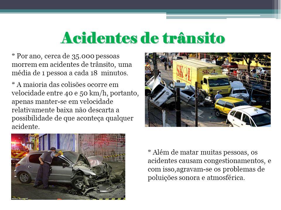 Acidentes de trânsito * Por ano, cerca de 35.000 pessoas morrem em acidentes de trânsito, uma média de 1 pessoa a cada 18 minutos. * A maioria das col