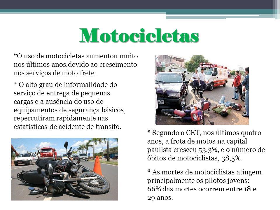 Motocicletas * O alto grau de informalidade do serviço de entrega de pequenas cargas e a ausência do uso de equipamentos de segurança básicos, repercu