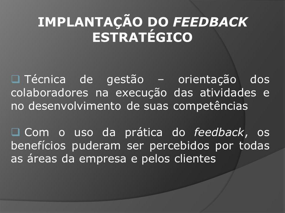 Técnica de gestão – orientação dos colaboradores na execução das atividades e no desenvolvimento de suas competências Com o uso da prática do feedback