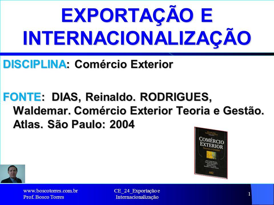 CE_24_Exportação e Internacionalização 1 EXPORTAÇÃO E INTERNACIONALIZAÇÃO DISCIPLINA: Comércio Exterior FONTE: DIAS, Reinaldo. RODRIGUES, Waldemar. Co
