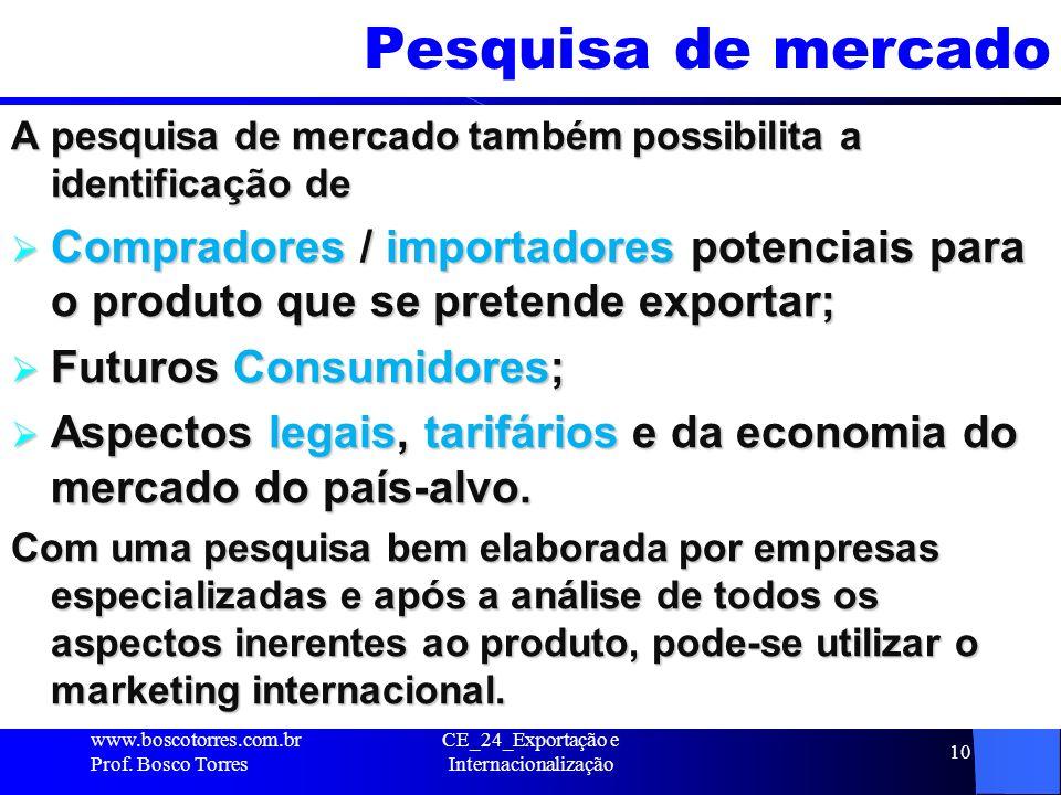 CE_24_Exportação e Internacionalização 10 Pesquisa de mercado A pesquisa de mercado também possibilita a identificação de Compradores / importadores p