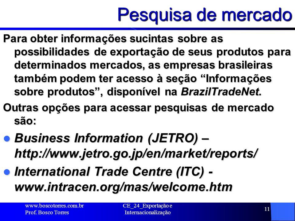 Pesquisa de mercado Para obter informações sucintas sobre as possibilidades de exportação de seus produtos para determinados mercados, as empresas bra