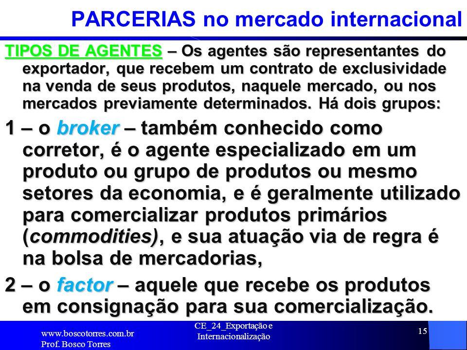 CE_24_Exportação e Internacionalização 15 PARCERIAS no mercado internacional TIPOS DE AGENTES – Os agentes são representantes do exportador, que receb