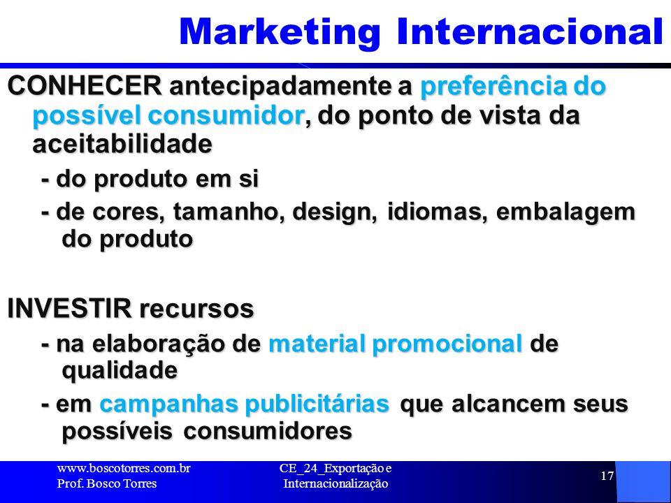 CE_24_Exportação e Internacionalização 17 Marketing Internacional CONHECER antecipadamente a preferência do possível consumidor, do ponto de vista da
